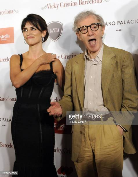 """Director Woody Allen , Spanish actress Penelope Cruz pose for photographers before the screening of their film """"Vicky Cristina Barcelona"""" on..."""