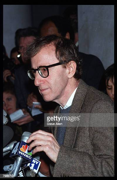 Director Woody Allen speaks at a press conference in front of the Manhattan Supreme Court January 12, 1993 in New York City. Allen's ex-girlfriend...