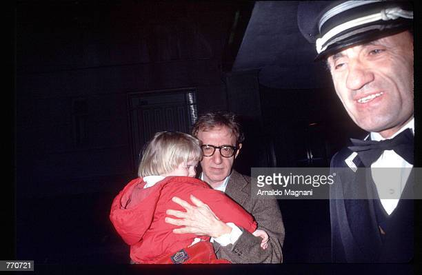 Director Woody Allen takes his son Satchel home April 10, 1993 in New York City. Allen's ex-girlfriend Mia Farrow is filing for custody of their...