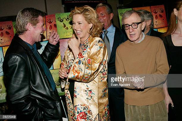 Director Woody Allen with cast members Treat Williams and Tea Leoni at the Hollywood Ending film premiere at Chelsea West Cinema in New York City...