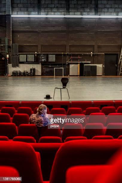 directeur die aan een manuscript in een leeg theater met rode stoelen en een leeg stadium werkt - stage performance space stockfoto's en -beelden