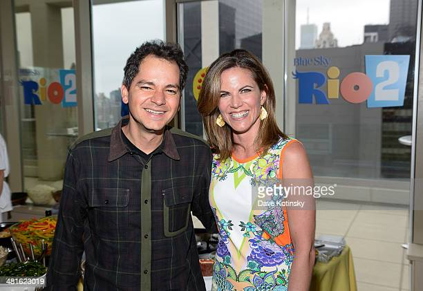 """Director / Writer Carlos Saldanha and Natalie Morales attends the """"Rio 2"""" special screening after party at Le Parker Meridien on March 30, 2014 in..."""