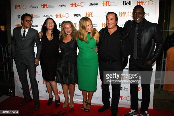 Director / Writer Cary Fukunaga producers Amy Kaufman Riva Marker Daniela Taplin Lundberg Daniel Crown and actor Idris Elba attend the 'Beasts Of No...