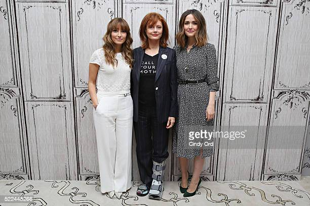 Director/ writer Lorene Scafaria actress Susan Sarandon and actress Rose Byrne pose for a photo before discussing their comedydrama film 'The...