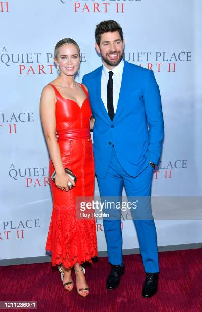 "Director, writer, producer John Krasinski and Emily Blunt attend the World Premiere of ""A Quiet Place Part II"" presented by Paramount Pictures, at..."