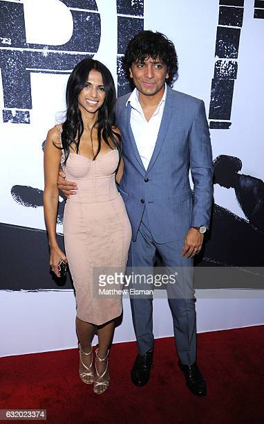 Director writer producer M Night Shyamalan and Bhavna Vaswani attend Split New York Premiere at SVA Theater on January 18 2017 in New York City