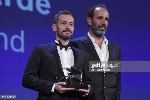 Director Xavier Legrand receives the Lion of the Future Luigi De Laurentiis Venice Award for a Debut Film with his movie 'Jusqu'à la Garde' during...