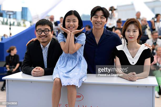 Director Yeon Sangho actors Kim Suan Gong Yoo and Jung Yumi attend the 'Train To Busan ' photocall during the 69th Annual Cannes Film Festival on May...