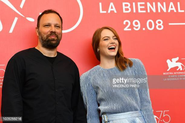 Director Yorgos Lanthimos and actress Emma Stone attend a photocall for the film The Favourite presented in competition on August 30 2018 during the...