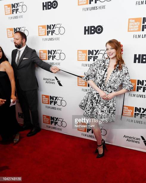 Director Yorgos Lanthimos and Emma Stone walk the red carpet at the 56th New York Film Festival Opening Night Premiere Of The Favourite at Alice...