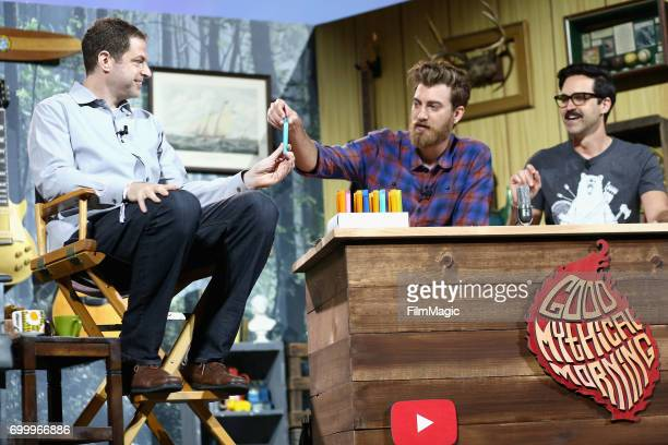 Director YouTube Originals Ben Relles comedians Rhett James McLaughlin and Charles Lincoln 'Link' Neal appear at the YouTube @ VidCon Brand Lounge at...