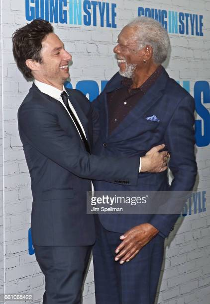 Director Zach Braff and actor Morgan Freeman attend the 'Going In Style' New York premiere at SVA Theatre on March 30 2017 in New York City