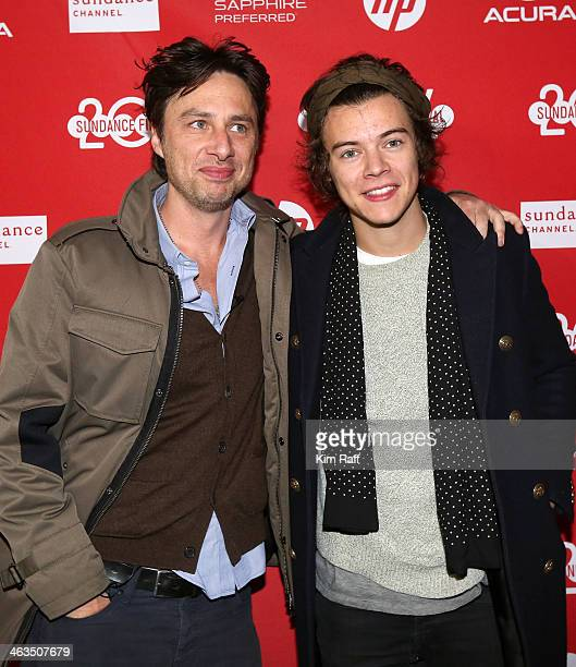 Director Zach Braff and singer Harry Styles attend the premiere of 'Wish I Was Here' at The Marc Theatre during the 2014 Sundance Film Festival on...