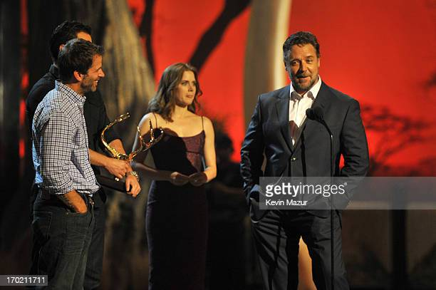 Director Zack Snyder, actors Amy Adams and Russell Crowe speak onstage during the 2013 Spike TV Guys Choice at Sony Pictures Studios on June 8, 2013...