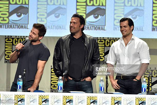 Director Zack Snyder actors Ben Affleck and Henry Cavill attend the Warner Bros Pictures panel and presentation during ComicCon International 2014 at...