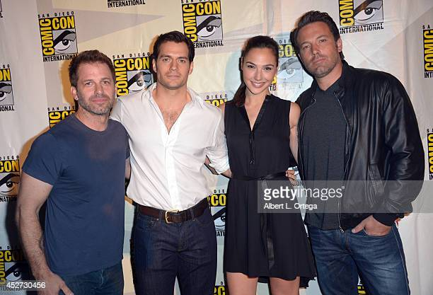 Director Zack Snyder actors Henry Cavill Gal Gadot and Ben Affleck attend the Warner Bros Pictures panel and presentation during ComicCon...