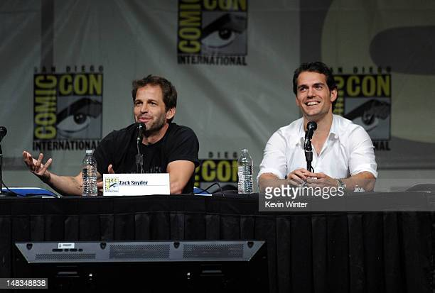 """Director Zack Snyder and actor Henry Cavill speak at Warner Bros. Pictures and Legendary Pictures preview """"Man Of Steel"""" during Comic-Con..."""