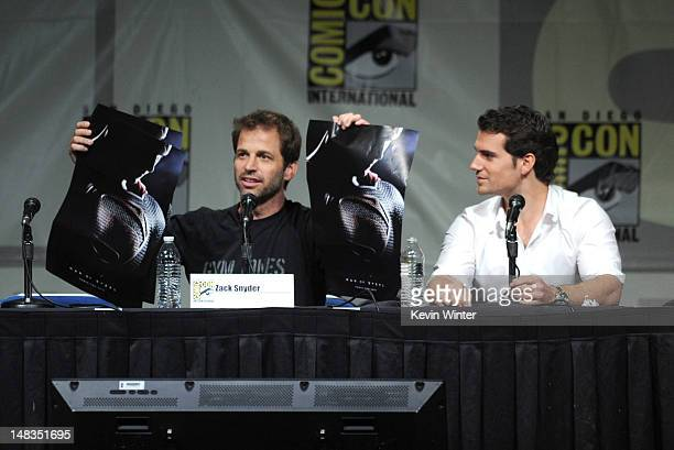 Director Zack Snyder and actor Henry Cavill speak at Warner Bros Pictures and Legendary Pictures preview 'Man Of Steel' during ComicCon International...