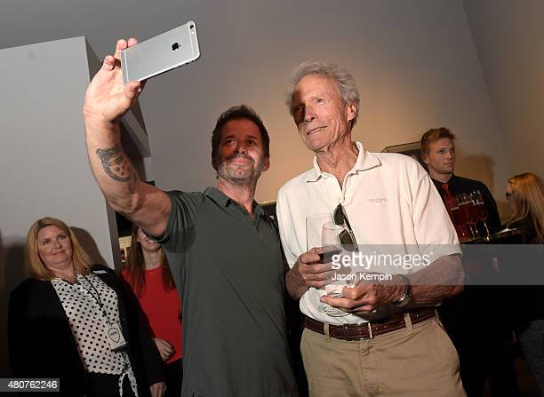 Director Zack Snyder and Clint Eastwood attend the Warner Bros Studio Tour Hollywood Expansion Official Unveiling Stage 48 Script To Screen at Warner...