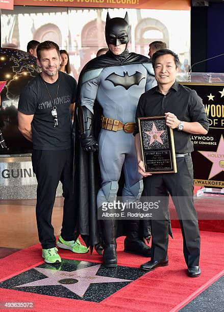 Director Zack Snyder Batman and DC Entertainment coPublisher/Comicbook Artist Jim Lee attend a ceremony honoring Batman creator Bob Kane with the...