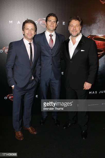 Director Zack Snyder Henry Cavill and Russell Crowe arrive at the 'Man Of Steel' Australian premiere on June 24 2013 in Sydney Australia