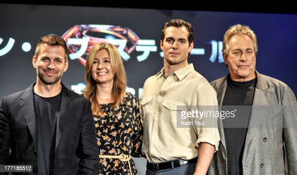 Director Zack Snyder producer Deborah Snyder actor Henry Cavill and producer Charles Roven attend the 'Man of Steel' press conference at the Grand...