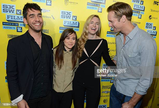 Director Zal Batmanglij actress Ellen Page actress Britt Marling and actor Alexander Skarsgard attend the premiere of The East during the 2013 SXSW...