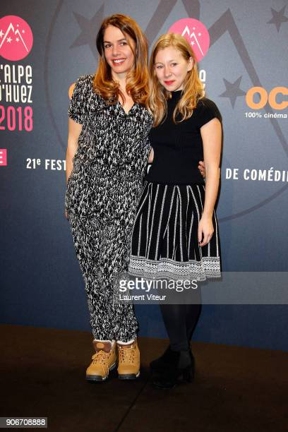 Director Zazon and Actress Geraldine Martineau attend 'Sur Un Airbnb' Short Film Premiere during the 21st Alpe D'Huez Comedy Film Festival on January...