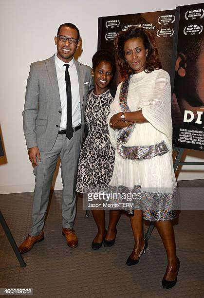 Director Zeresenay Behane Mehari actress Tizita Hagere and Meaza Ashenafi attend the Difret special screening and QA at the Museum Of Tolerance on...