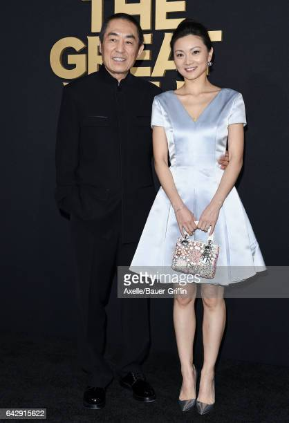 Director Zhang Yimou and wife Chen Ting arrive at the premiere of Universal Pictures' 'The Great Wall' at TCL Chinese Theatre IMAX on February 15,...