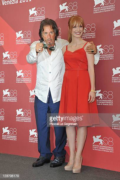 Director/actor Al Pacino and actress Jessica Chastain pose at the Wild Salome photocall during the 68th Venice Film Festival at Palazzo del Cinema on...