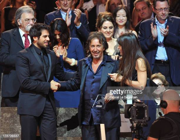 Director/Actor Al Pacino picks up his Jaeger Le Coultre Glory to the Filmmaker Award 2011 at with Filmaker Eli Roth and Lucila Sola the Wild Salome...