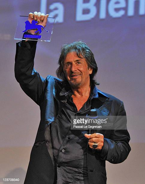 Director/Actor Al Pacino picks up his Jaeger Le Coultre Glory to the Filmmaker Award 2011 at the 'Wild Salome' premiere during the 68th Venice Film...