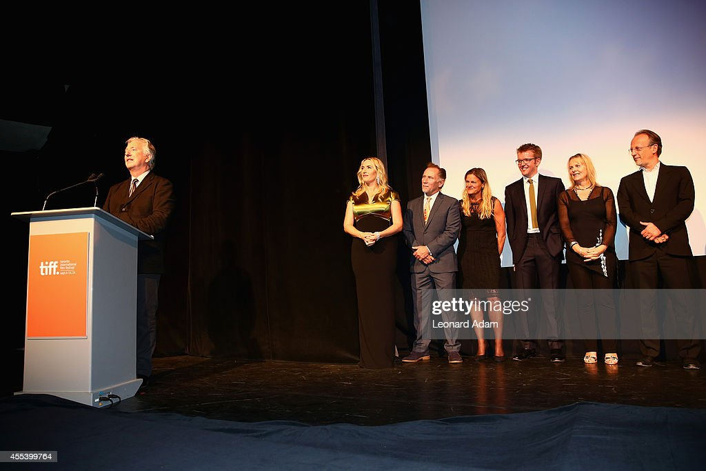 Director/actor Alan Rickman, actors Kate Winslet, Danny Webb, Cinematographer Ellen Kuras, Composer Peter Gregson, Writer Alison Deegan and Producer Bertrand Faivre speak onstage at the 'A Little Chaos' premiere introduction during the 2014 Toronto International Film Festival at Roy Thomson Hall on September 13, 2014 in Toronto, Canada.