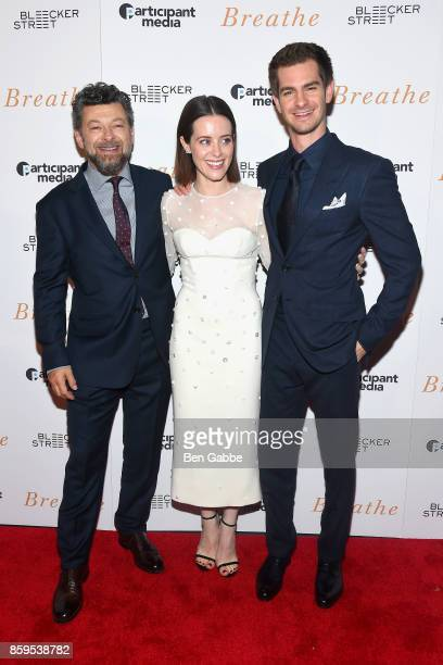 Director/actor Andy Serkis actress Claire Foy and actor Andrew Garfield attend the 'Breathe' New York Special Screening at AMC Loews Lincoln Square...