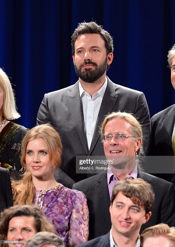 Director/actor Ben Affleck, actress Amy Adams, sound editor Per Hallberg, producer Ellen De Waele and director Benh Zeitlin pose together for the 85th Academy Awards Nominations Luncheon at The Beverly Hilton Hotel on February 4, 2013 in Beverly Hills, California.