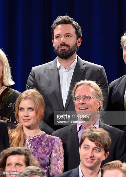 Director/actor Ben Affleck actress Amy Adams sound editor Per Hallberg producer Ellen De Waele and director Benh Zeitlin pose together for the 85th...