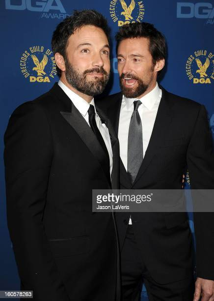 Director/actor Ben Affleck and actor Hugh Jackman attend the 65th annual Directors Guild Of America Awards at The Ray Dolby Ballroom at Hollywood...