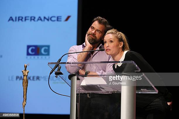 Director/actor Clovis Cornillac and cowriter/actress Lilou Fogli onstage after receiving the 2015 In French Audience Award at the 2015 In French With...