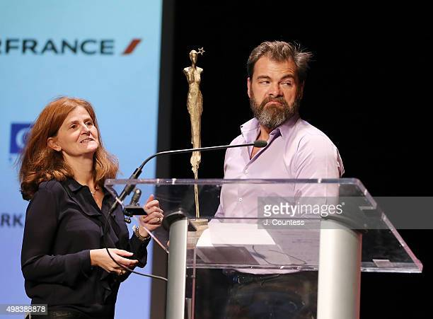 Director/actor Clovis Cornillac recieves the 2015 In French Audience Award at the 2015 In French With English Subtitles NY Film Festival Closing...