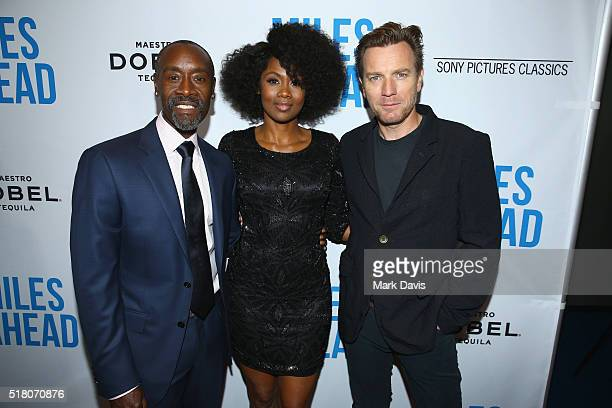 Director/actor Don Cheadle actress Emayatzy Corinealdi and actor Ewan McGregor attend the premiere of Sony Pictures Classics' 'Miles Ahead' at...