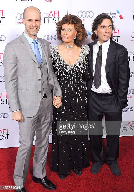 Director/actor Edoardo Ponti actress Sophia Loren and conductor Carlo Ponti Jr arrive at AFI FEST 2014 Presented By Audi A Special Tribute To Sophia...