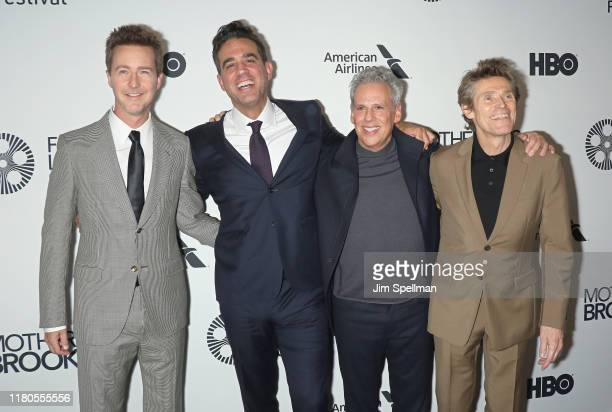Director/actor Edward Norton actors Bobby Cannavale Josh Pais and Willem Dafoe attend the Motherless Brooklyn premiere during the 57th New York Film...
