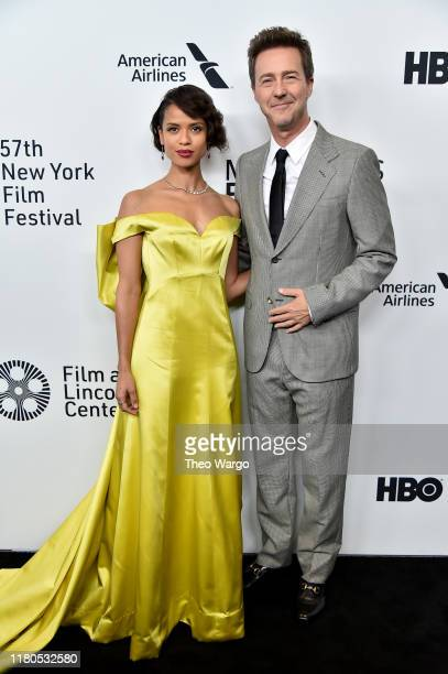 Director/actor Edward Norton and actress Gugu MbathaRaw attend the Motherless Brooklyn Arrivals during the 57th New York Film Festival on October 11...