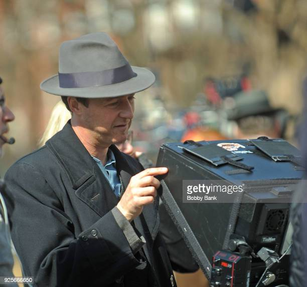 Director/actor Edward Norton on set for 'Motherless Brooklyn' in Washington Sqaure Park on February 28 2018 in New York City