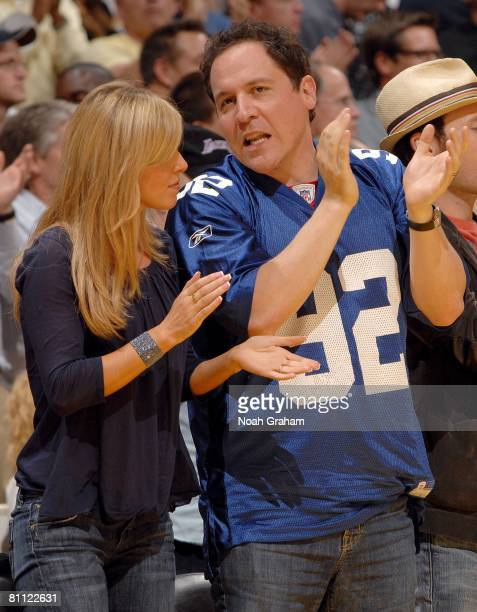 Director/actor Jon Favreau and wife Joya Tillem watch the Los Angeles Lakers and the Utah Jazz in Game Five of the Western Conference Semifinals...