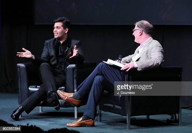 Director/actor Karan Johar speaks with moderator Noah Cowan during the 2016 Toronto International Film Festival In Conversation With Karan Johar at...