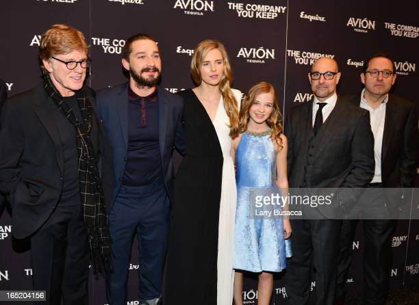 DirectorActor Robert Redford Shia LaBeouf Brit Marling Jackie Evancho Stanley Tucci and Michael Barker attend The Company You Keep New York Premiere...