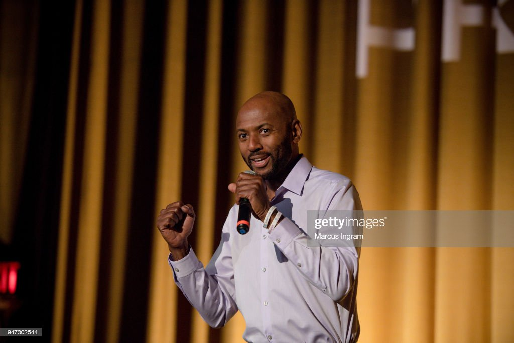 Director/Actor Romany Malco speaks on stage during the 42nd Annual Atlanta Film Festival 'Prison Logic' screening at Plaza Theater on April 16, 2018 in Atlanta, Georgia.
