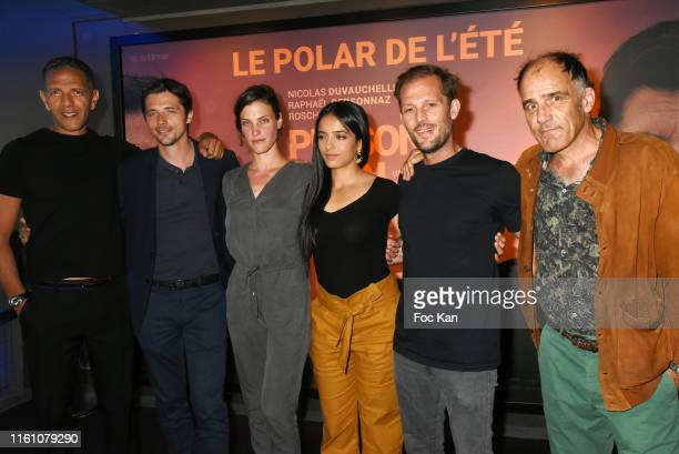 R director/actor Roschdy Zem actors Raphael Personnaz Sarah Pasquier Hafsia Herzi Nicolas Duvauchelle and Frédéric Pierrot attend the Persona Non...